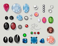 Diamonds. Set of diamonds isolated on light background. Additional  format Illustrator 8 eps Royalty Free Stock Photos