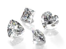 Diamonds. Gems isolated on white background. Illustration for gem catalogues, jewelry sites and other Royalty Free Stock Photography