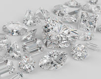 Diamonds. Diamonds different cuts on gray background. Focus on large diamond heart shape. 3d illustration Stock Images