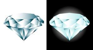 Diamonds. Two blue diamonds on white and black background Stock Photography