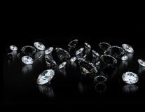 Diamonds. Many diamonds on black background Royalty Free Stock Photos