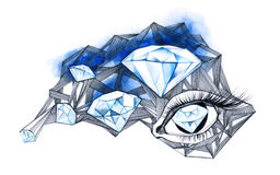 Diamonds. Dreaming about dimonds - group of diamonds and human eye Stock Photography