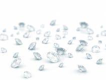 Diamonds. Large group of diamonds on white background Royalty Free Stock Photography