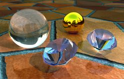 Diamonds. Scene diamond and ball Executed in 3D Stock Photography
