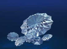Diamonds. Brilliant diamonds on a blue velvet background Stock Photography