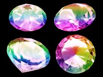 Diamonds. Multicolor precious stones isolated over black Royalty Free Stock Photography