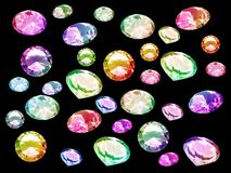 Diamonds. Multicolor precious stones isolated over black Stock Image