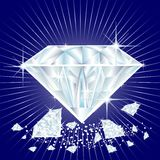 Diamonds. Illustration of shiny diamonds, one large and assorted smaller sizes Royalty Free Stock Images