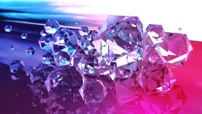 Diamonds abstract gems in purple and blue. Abstract gems and diamonds. Purple and blue background. Abstract colorful forms with beautful blurs. 3d rendered gems royalty free stock photography