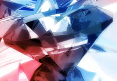 Diamonds Background. Blue-Red Diamond Reflections 3D Background. 3D Rendered Diamonds illustration Stock Image