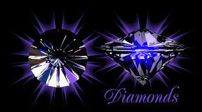 Diamonds on black Stock Image