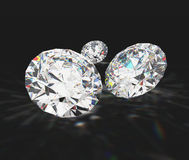 Diamonds with black background. And reflection Stock Images