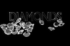 Diamonds on a black background. Royalty Free Stock Photography