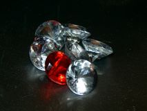 Diamonds on a black background. Close-up Stock Photo