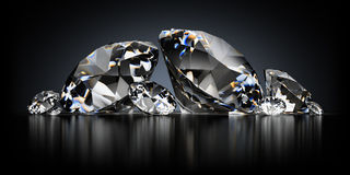 Diamonds on a Black Background Royalty Free Stock Images