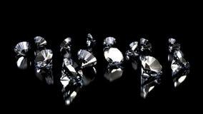 Diamonds on black background Royalty Free Stock Photos