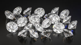 Diamonds on black background. Lying diamonds on black background Royalty Free Stock Image