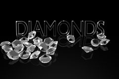 Diamonds on the black mirror background. Royalty Free Stock Image