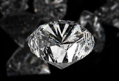 Diamonds on black surface. Diamonds 3d on black surface royalty free stock image