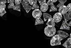 Diamonds on black surface Stock Photos