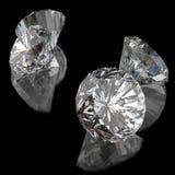 Diamonds on black surface Stock Image