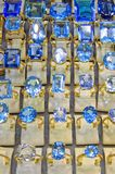 Diamonds blue. Big and blue shinny diamonds rings jewelers Stock Image
