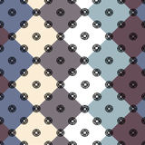 Diamonds blue , beige, white and dark pink with patterns. Seamless pattern with multi-colored geometric shapes Stock Illustration