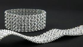 Diamonds bracelet. In black background Stock Images