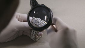 Diamonds Bracelet Under Magnification Glass stock video