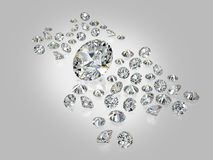 Diamonds, brilliants 6. Round diamonds of various sizes on a gray background with reflection Royalty Free Stock Image