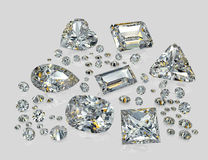 Diamonds, brilliants. Brilliants of the various size, geometry and various facet, on a grey background with reflection Stock Photo