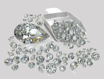 Diamonds, brilliants 9. Brilliants of the various size, geometry and various facet on a grey background with reflection Royalty Free Stock Image