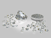 Diamonds, brilliants 10. Brilliants of the various size, geometry and various facet on a grey background with reflection Royalty Free Stock Photos