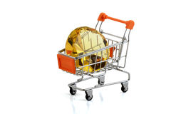 Diamonds buy. Yellow diamonds in the shopping cart clipping pack royalty free stock images
