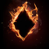 Diamonds card in Fire Stock Image