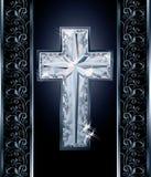 Diamonds Christian cross cover design Stock Image