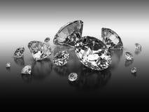 Diamonds  with clipping path. Set of diamonds on b/w gradient background Stock Photo