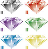 Diamonds. 6 colored vector diamonds, grey / silver, red / orange, purple, green, blue, yellow / gold. To download as image stock illustration