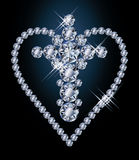 Diamonds cross and heart Stock Photos