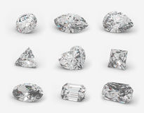 Diamonds cuts. Nine different cuts of a diamonds. Angle view Royalty Free Stock Photos