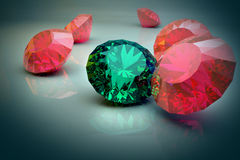 Diamonds 3d model. 3d model of pink beautiful diamonds Royalty Free Stock Image