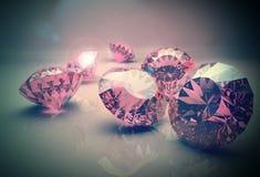 Diamonds 3d model. 3d model of pink beautiful diamonds Royalty Free Stock Images