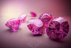 Diamonds 3d model. 3d model of pink beautiful diamonds Royalty Free Stock Photography