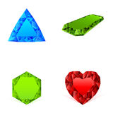 Diamonds in different colors set Stock Image