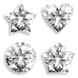Diamonds of different shapes are isolated. Heart, star, a pentagram and a circle of diamonds on a white background Royalty Free Stock Photo