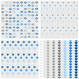 Diamonds dots flowers and hearts blue gray pattern set Stock Photos
