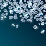 Diamonds falling on blue background Stock Photo