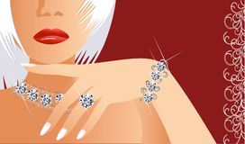Diamonds are forever. Vector picture of glamour lady with brilliants Stock Image