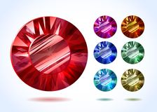 Diamonds and gemstones colorful vector set Stock Image