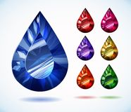 Diamonds and gemstones colorful vector set Stock Photos